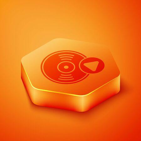 Isometric Vinyl disk icon isolated on orange background. Orange hexagon button. Vector Illustration 写真素材 - 143433427