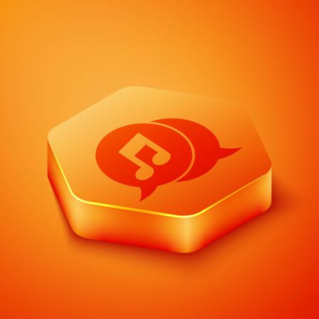 Isometric Musical note in speech bubble icon isolated on orange background. Music and sound concept. Orange hexagon button. Vector Illustration 写真素材 - 143433433