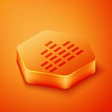 Isometric Music equalizer icon isolated on orange background. Sound wave. Audio digital equalizer technology, console panel, pulse musical. Orange hexagon button. Vector Illustration
