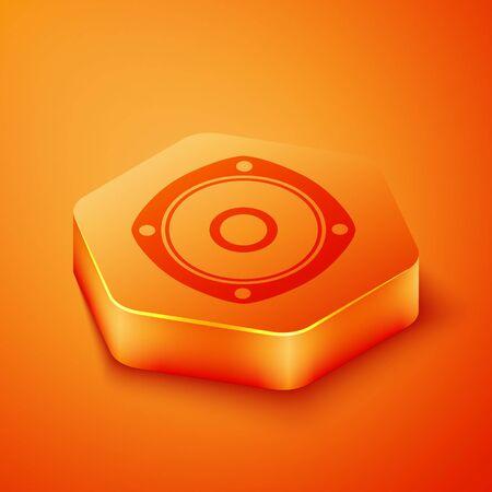 Isometric Stereo speaker icon isolated on orange background. Sound system speakers. Music icon. Musical column speaker bass equipment. Orange hexagon button. Vector Illustration