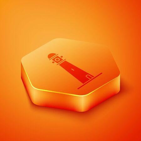 Isometric Lighthouse icon isolated on orange background. Orange hexagon button. Vector Illustration 矢量图像