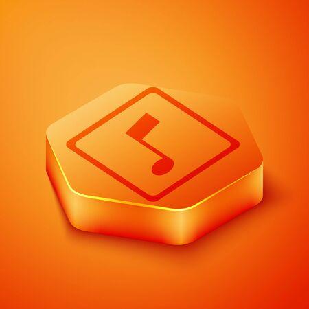 Isometric Music note, tone icon isolated on orange background. Orange hexagon button. Vector Illustration  イラスト・ベクター素材