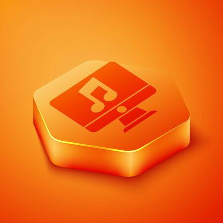 Isometric Computer with music note symbol on screen icon isolated on orange background. Orange hexagon button. Vector Illustration
