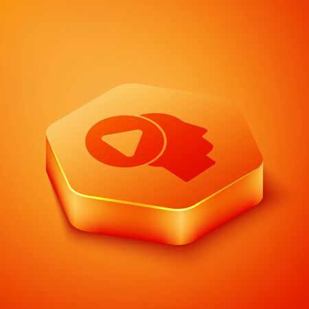 Isometric Head people with play button icon isolated on orange background. Orange hexagon button. Vector Illustration