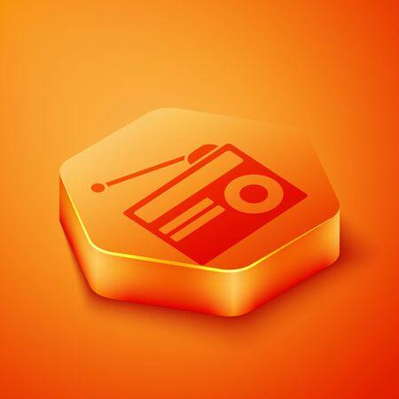 Isometric Radio with antenna icon isolated on orange background. Orange hexagon button. Vector Illustration  イラスト・ベクター素材