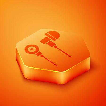 Isometric Air headphones icon icon isolated on orange background. Holder wireless in case earphones garniture electronic gadget. Orange hexagon button. Vector Illustration  イラスト・ベクター素材
