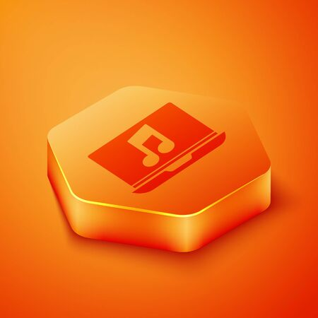 Isometric Laptop with music note symbol on screen icon isolated on orange background. Orange hexagon button. Vector Illustration