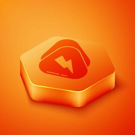 Isometric Guitar pick icon isolated on orange background. Musical instrument. Orange hexagon button. Vector Illustration  イラスト・ベクター素材