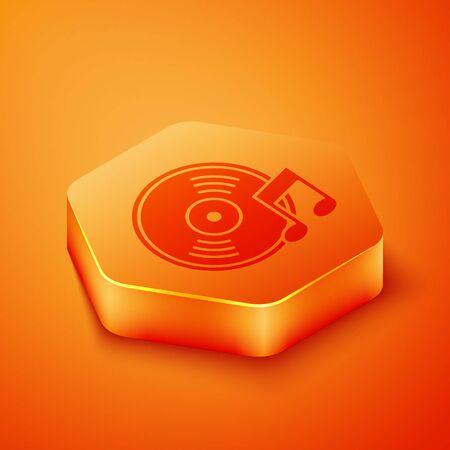 Isometric Vinyl disk icon isolated on orange background. Orange hexagon button. Vector Illustration 写真素材 - 143433455