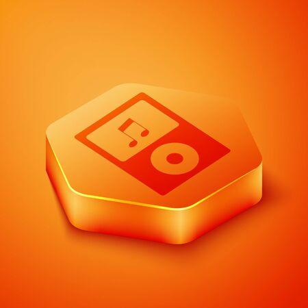 Isometric Music player icon isolated on orange background. Portable music device. Orange hexagon button. Vector Illustration  イラスト・ベクター素材