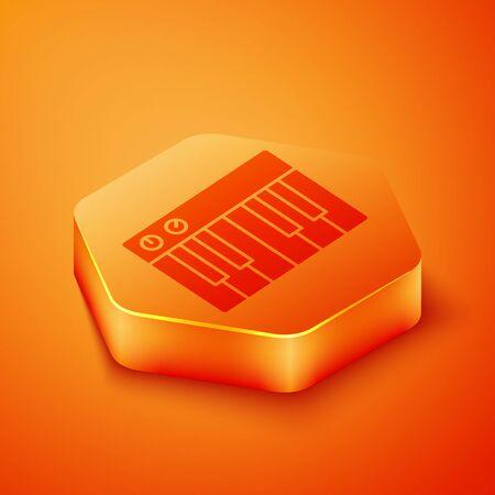Isometric Music synthesizer icon isolated on orange background. Electronic piano. Orange hexagon button. Vector Illustration  イラスト・ベクター素材
