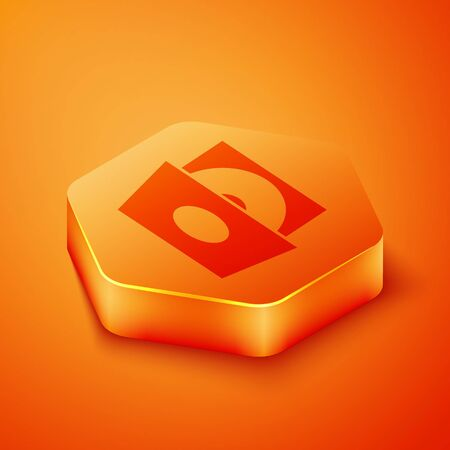 Isometric Vinyl player with a vinyl disk icon isolated on orange background. Orange hexagon button. Vector Illustration