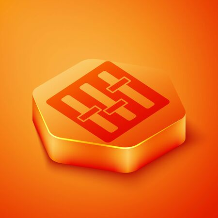 Isometric Sound mixer controller icon isolated on orange background. Dj equipment slider buttons. Mixing console. Orange hexagon button. Vector Illustration 写真素材 - 143433464