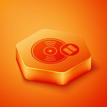 Isometric Vinyl disk icon isolated on orange background. Orange hexagon button. Vector Illustration
