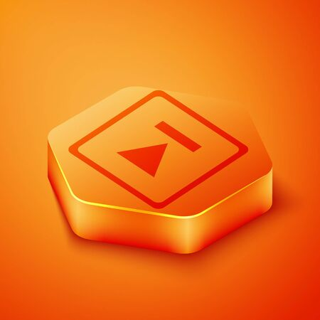 Isometric Fast forward icon isolated on orange background. Orange hexagon button. Vector Illustration