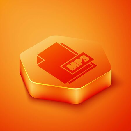 Isometric MP3 file document. Download mp3 button icon isolated on orange background. Mp3 music format sign. MP3 file symbol. Orange hexagon button. Vector Illustration  イラスト・ベクター素材