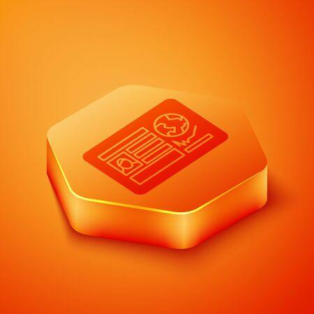 Isometric Passport with visa stamp icon isolated on orange background. Identification Document. Orange hexagon button. Vector Illustration Vectores