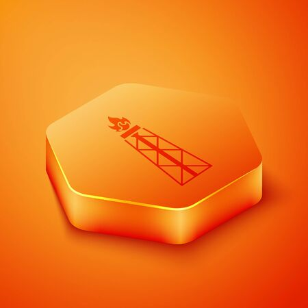 Isometric Oil rig with fire icon isolated on orange background. Gas tower. Industrial object. Orange hexagon button. Vector Illustration