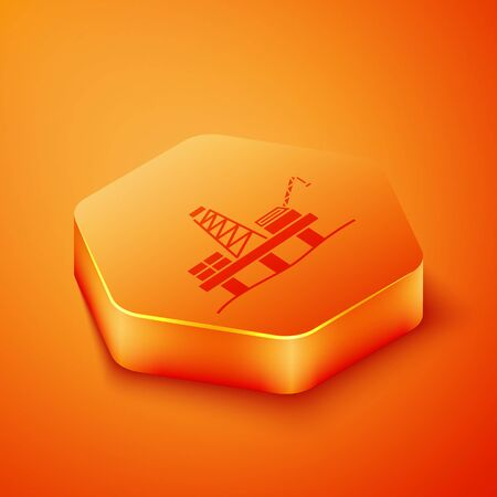Isometric Oil platform in the sea icon isolated on orange background. Drilling rig at sea. Oil platform, gas fuel, industry offshore. Orange hexagon button. Vector Illustration