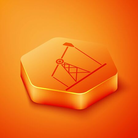 Isometric Oil pump or pump jack icon isolated on orange background. Oil rig. Orange hexagon button. Vector Illustration