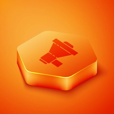 Isometric Megaphone icon isolated on orange background. Loud speach alert concept. Bullhorn for Mouthpiece scream promotion. Orange hexagon button. Vector Illustration  イラスト・ベクター素材