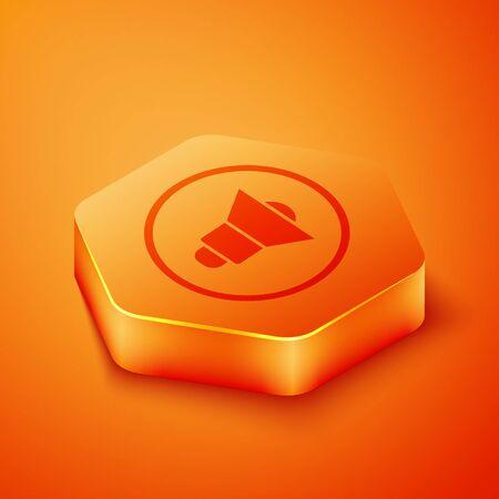 Isometric Speaker volume, audio voice sound symbol, media music icon isolated on orange background. Orange hexagon button. Vector Illustration