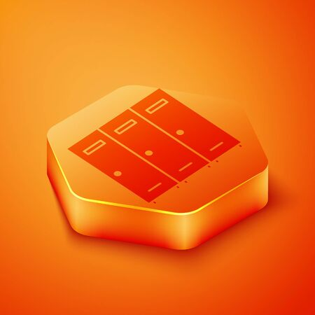 Isometric Locker or changing room for hockey, football, basketball team or workers icon isolated on orange background. Orange hexagon button. Vector Illustration