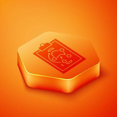 Isometric Planning strategy concept icon isolated on orange background. Hockey cup formation and tactic. Orange hexagon button. Vector Illustration  イラスト・ベクター素材