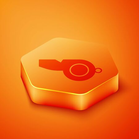 Isometric Whistle icon isolated on orange background. Referee symbol. Fitness and sport sign. Orange hexagon button. Vector Illustration  イラスト・ベクター素材