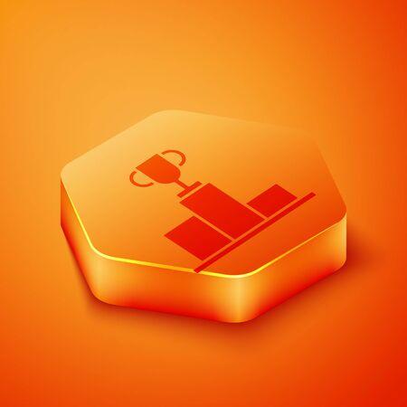 Isometric Hockey over sports winner podium icon isolated on orange background. Orange hexagon button. Vector Illustration Ilustração