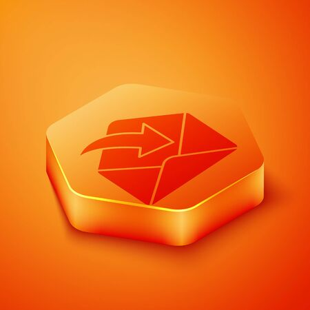 Isometric Envelope icon isolated on orange background. Received message concept. New, email incoming message, sms. Mail delivery service. Orange hexagon button. Vector Illustration