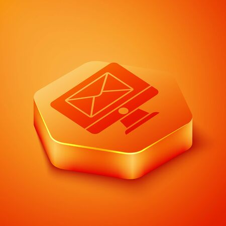 Isometric Monitor and envelope, new message, mail icon isolated on orange background. Usage for e-mail newsletters, headers, blog posts. Orange hexagon button. Vector Illustration