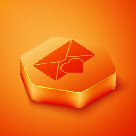 Isometric Envelope with Valentine heart icon isolated on orange background. Message love. Letter love and romance. Orange hexagon button. Vector Illustration