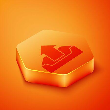 Isometric Upload inbox icon isolated on orange background. Orange hexagon button. Vector Illustration