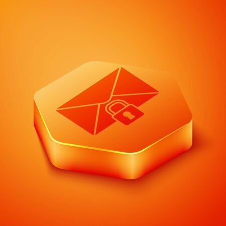 Isometric Mail message lock password icon isolated on orange background. Envelope with padlock. Private, security, secure, protection, privacy. Orange hexagon button. Vector Illustration 向量圖像