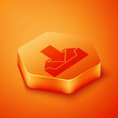 Isometric Download inbox icon isolated on orange background. Orange hexagon button. Vector Illustration 向量圖像