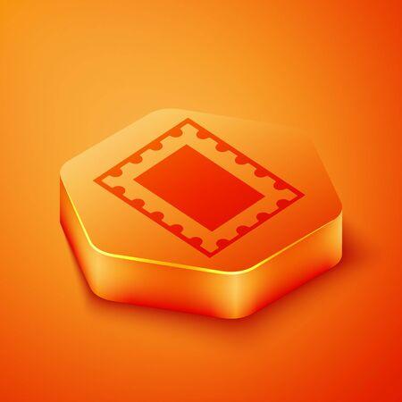 Isometric Postal stamp icon isolated on orange background. Orange hexagon button. Vector Illustration