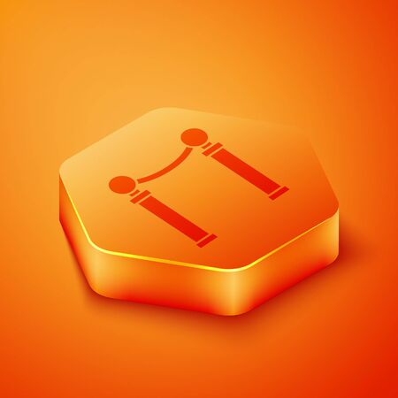 Isometric Exhibition of paintings icon isolated on orange background. Picture gallery. Orange hexagon button. Vector Illustration Banque d'images - 143457417