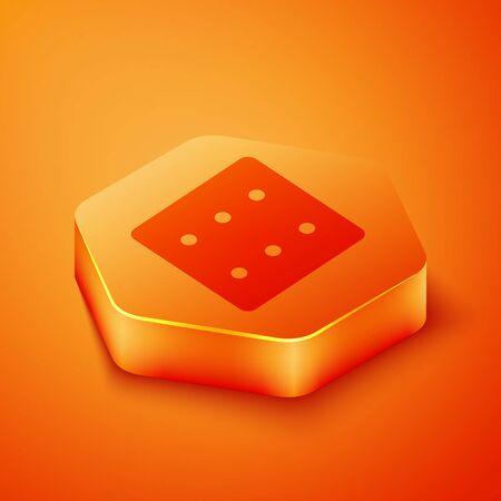 Isometric Game dice icon isolated on orange background. Casino gambling. Orange hexagon button. Vector Illustration