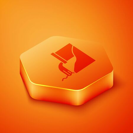 Isometric Wastewater icon isolated on orange background. Sewer pipe. From the pipe flowing liquid into the river. Orange hexagon button. Vector Illustration