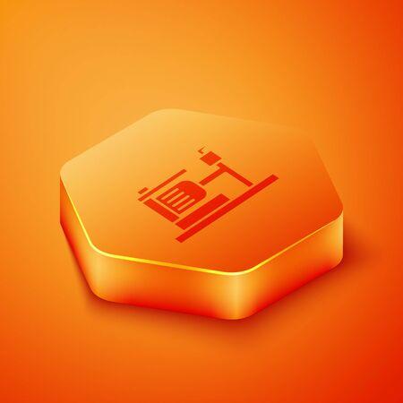 Isometric Electric water pump icon isolated on orange background. Orange hexagon button. Vector Illustration 向量圖像