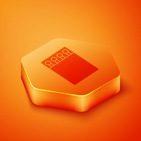 Isometric Open matchbox and matches icon isolated on orange background. Orange hexagon button. Vector Illustration