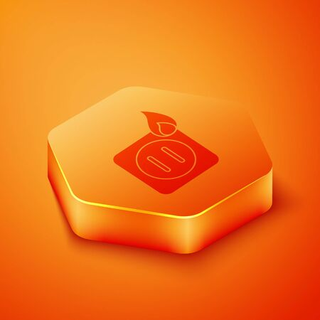Isometric Electric wiring of socket in fire icon isolated on orange background. Electrical safety concept. Plug outlet on fire. Orange hexagon button. Vector Illustration