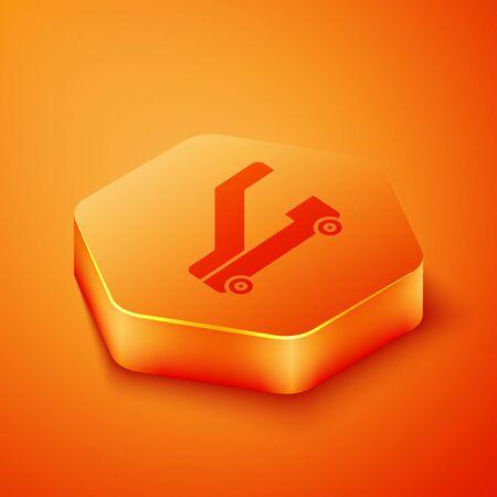 Isometric Passenger ladder for plane boarding icon isolated on orange background. Airport stair travel. Orange hexagon button. Vector Illustration 向量圖像