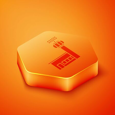Isometric Airport control tower icon isolated on orange background. Orange hexagon button. Vector Illustration