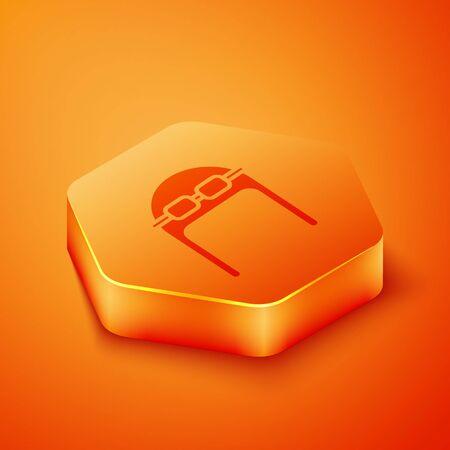 Isometric Aviator hat with goggles icon isolated on orange background. Pilot hat. Orange hexagon button. Vector Illustration