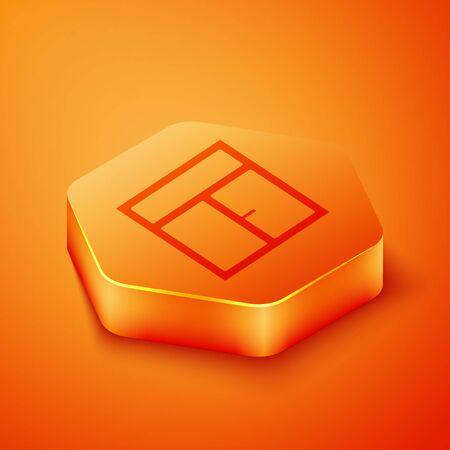 Isometric Window in the room icon isolated on orange background. Orange hexagon button. Vector Illustration Ilustração