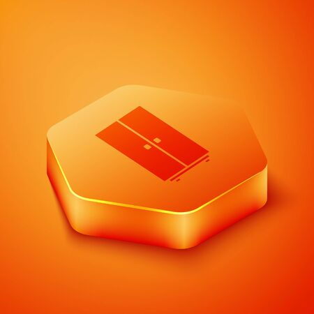 Isometric Wardrobe icon isolated on orange background. Orange hexagon button. Vector Illustration