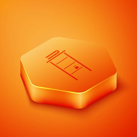 Isometric Bathroom rack with shelves for towels icon isolated on orange background. Furniture object for bath room interior. Orange hexagon button. Vector Illustration