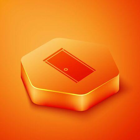 Isometric Closed door icon isolated on orange background. Orange hexagon button. Vector Illustration
